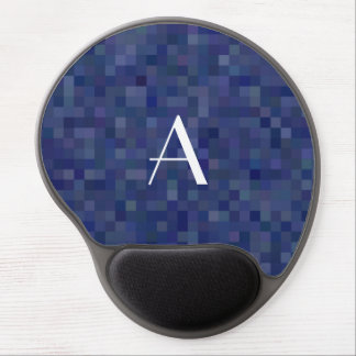 Monogram navy blue mosaic squares gel mouse pad