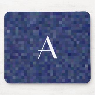 Monogram navy blue mosaic squares mouse pad