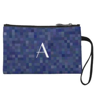 Monogram navy blue mosaic squares wristlet