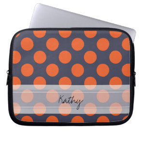 Monogram Navy Blue Orange Chic Polka Dot Pattern Laptop Sleeve