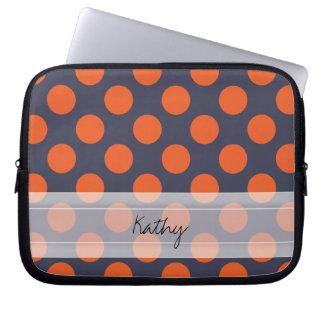 Monogram Navy Blue Orange Chic Polka Dot Pattern Laptop Computer Sleeve