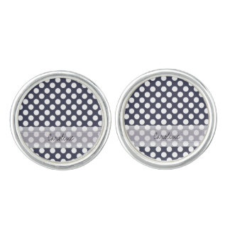 Monogram Navy Blue White Trendy Polka Dot Pattern Cufflinks