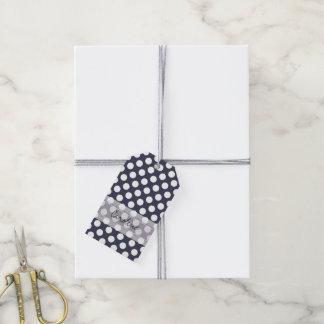Monogram Navy Blue White Trendy Polka Dot Pattern Gift Tags