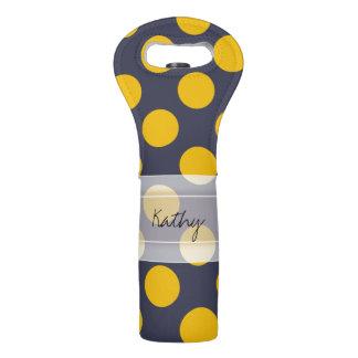 Monogram Navy Blue Yellow Chic Polka Dot Pattern Wine Bag