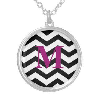 Monogram Neckace Zig Zag Black chevron Jewelry