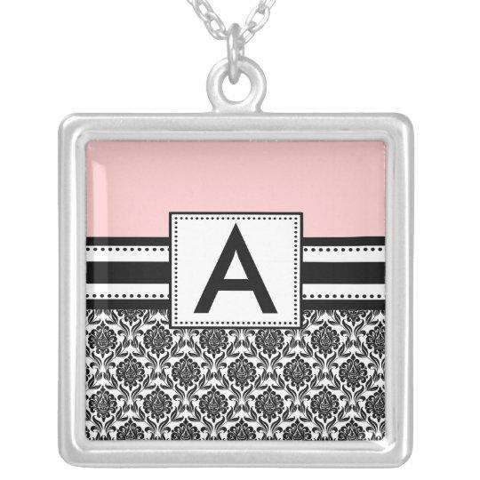 Monogram Necklace Black Pink Damask  Pendant