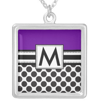 Monogram Necklace Black Polka Dots Purple Pendant