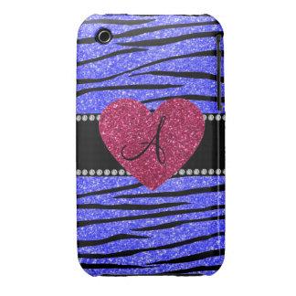 Monogram neon blue glitter zebra stripes heart iPhone 3 cover