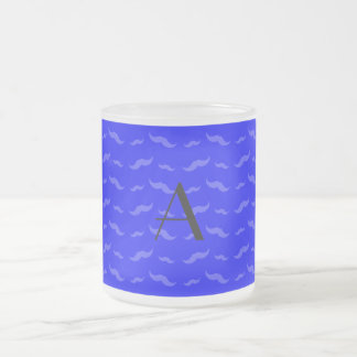 Monogram neon blue mustache pattern mugs
