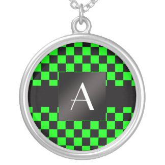 Monogram neon green and black checkers round pendant necklace