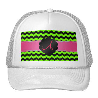 Monogram neon green and black chevrons cap