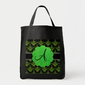 Monogram neon green glitter damask