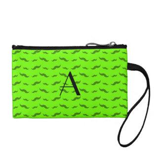 Monogram neon green mustache pattern coin purse