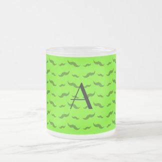 Monogram neon green mustache pattern coffee mugs