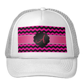 Monogram neon hot pink black chevrons cap