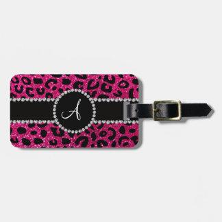 Monogram neon hot pink glitter cheetah pattern luggage tag