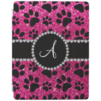 Monogram neon hot pink glitter dog paws iPad cover