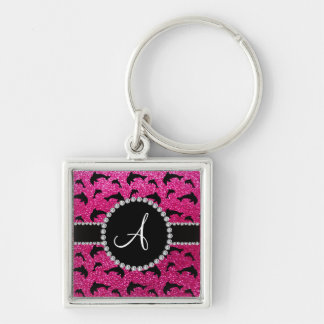 Monogram neon hot pink glitter dolphins Silver-Colored square key ring
