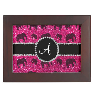 Monogram neon hot pink glitter elephants keepsake box