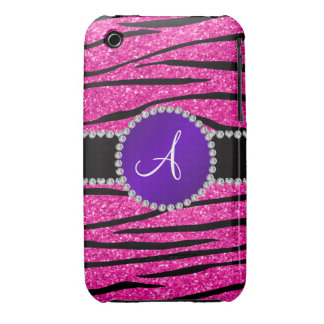Monogram neon hot pink glitter zebra purple circle iPhone 3 Case-Mate case
