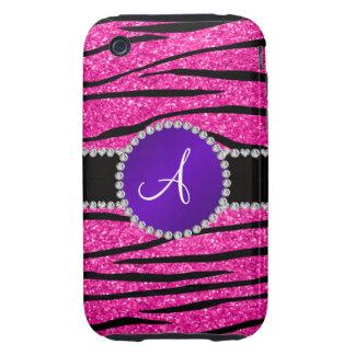 Monogram neon hot pink glitter zebra purple circle tough iPhone 3 covers