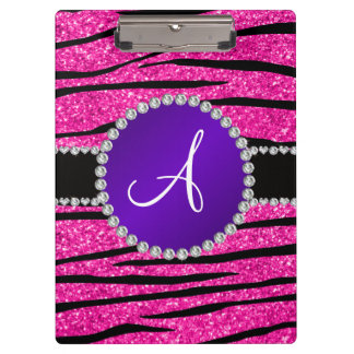 Monogram neon hot pink glitter zebra purple circle clipboard
