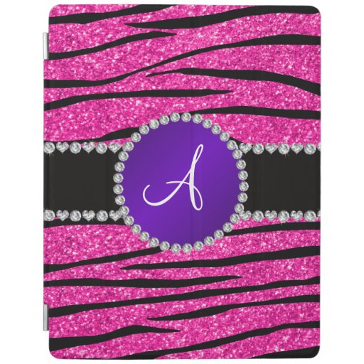Monogram neon hot pink glitter zebra purple circle iPad cover
