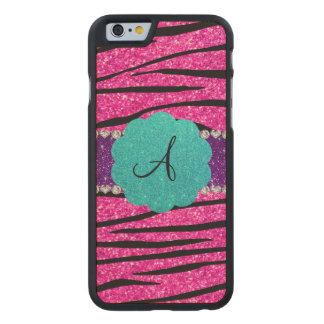 Monogram neon hot pink glitter zebra scallop carved® maple iPhone 6 slim case