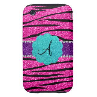 Monogram neon hot pink glitter zebra scallop iPhone 3 tough covers