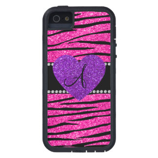 Monogram neon hot pink glitter zebra stripes pink iPhone 5 covers