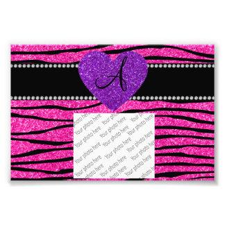 Monogram neon hot pink glitter zebra stripes pink photo print