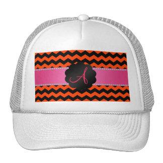 Monogram neon orange black chevrons cap