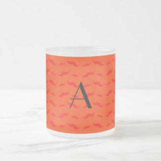 Monogram neon orange mustache pattern coffee mug