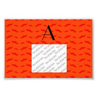 Monogram neon orange mustache pattern photo print