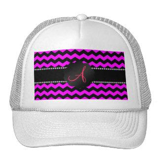 Monogram neon pink and black chevrons cap