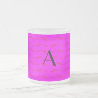 Monogram neon pink mustache pattern mugs