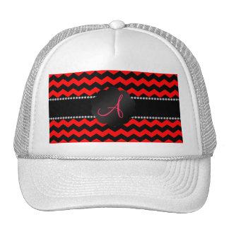 Monogram neon red and black chevrons cap