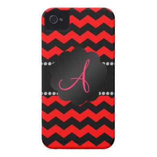 Monogram neon red and black chevrons blackberry bold cover