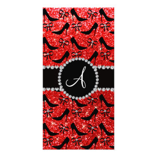 Monogram neon red glitter black high heels bow personalized photo card