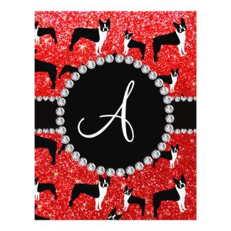 Monogram neon red glitter boston terriers 21.5 cm x 28 cm flyer