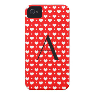Monogram neon red hearts polka dots Case-Mate iPhone 4 case