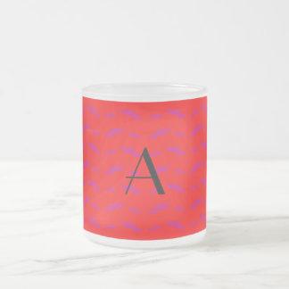 Monogram neon red mustache pattern mugs
