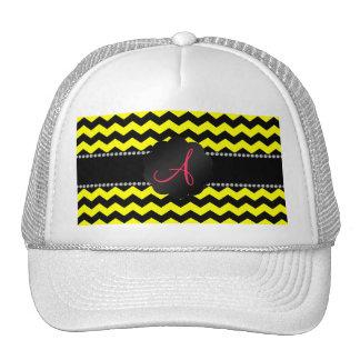 Monogram neon yellow and black chevrons cap