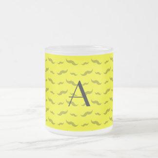 Monogram neon yellow mustache pattern coffee mug