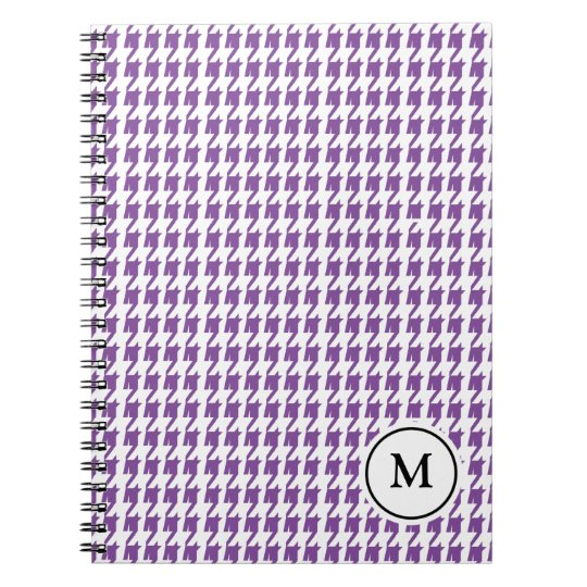 Monogram Notebook     Purple and White Houndstooth