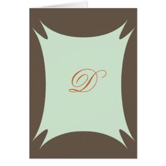 Monogram notecard brown sage green cards