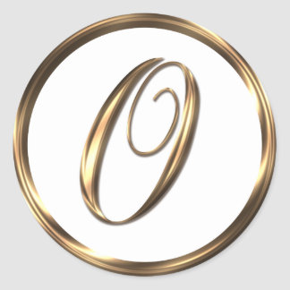 Monogram O Faux Bronze Round Sticker