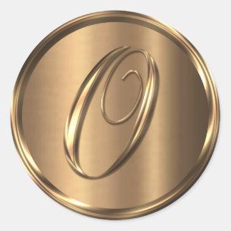 Monogram O NONMETALLIC Bronze Envelope Seal Round Sticker