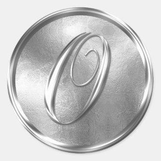 Monogram O NONMETALLIC Silver Envelope Seal Round Sticker