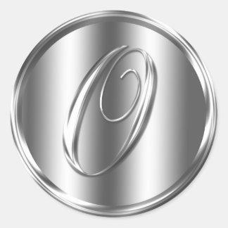 Monogram O Silver Color Round Sticker